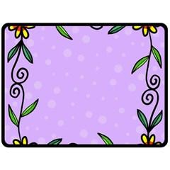 Hand Drawn Doodle Flower Border Fleece Blanket (Large)