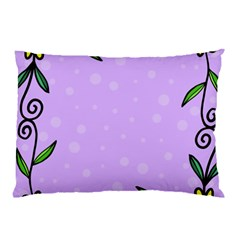 Hand Drawn Doodle Flower Border Pillow Case (Two Sides)