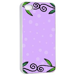 Hand Drawn Doodle Flower Border Apple iPhone 4/4s Seamless Case (White)