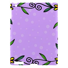 Hand Drawn Doodle Flower Border Apple iPad 3/4 Hardshell Case