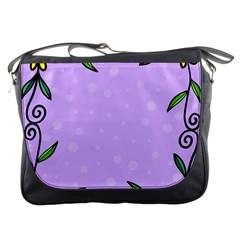 Hand Drawn Doodle Flower Border Messenger Bags