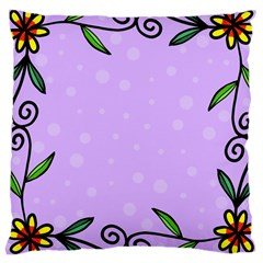 Hand Drawn Doodle Flower Border Large Cushion Case (one Side)