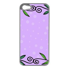 Hand Drawn Doodle Flower Border Apple iPhone 5 Case (Silver)