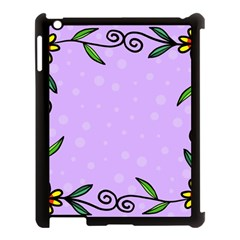 Hand Drawn Doodle Flower Border Apple iPad 3/4 Case (Black)