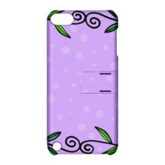 Hand Drawn Doodle Flower Border Apple iPod Touch 5 Hardshell Case with Stand