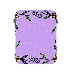 Hand Drawn Doodle Flower Border Apple iPad 2/3/4 Protective Soft Cases