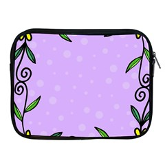 Hand Drawn Doodle Flower Border Apple Ipad 2/3/4 Zipper Cases
