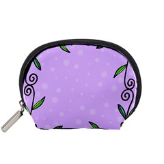 Hand Drawn Doodle Flower Border Accessory Pouches (Small)
