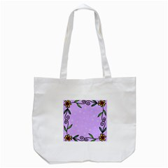 Hand Drawn Doodle Flower Border Tote Bag (White)