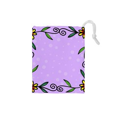 Hand Drawn Doodle Flower Border Drawstring Pouches (small)