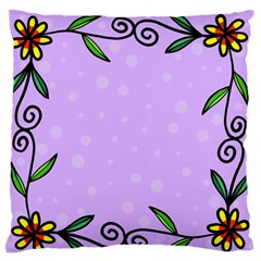 Hand Drawn Doodle Flower Border Large Flano Cushion Case (two Sides)