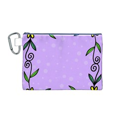 Hand Drawn Doodle Flower Border Canvas Cosmetic Bag (m)