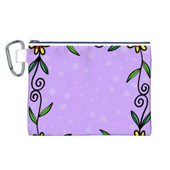 Hand Drawn Doodle Flower Border Canvas Cosmetic Bag (L)