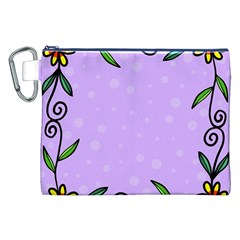 Hand Drawn Doodle Flower Border Canvas Cosmetic Bag (XXL)