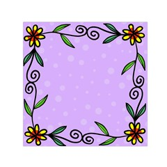 Hand Drawn Doodle Flower Border Small Satin Scarf (square)