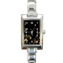 Golden Flowers And Leaves On A Black Background Rectangle Italian Charm Watch
