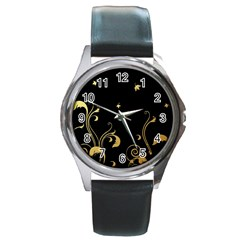 Golden Flowers And Leaves On A Black Background Round Metal Watch