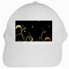 Golden Flowers And Leaves On A Black Background White Cap