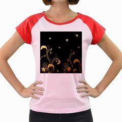 Golden Flowers And Leaves On A Black Background Women s Cap Sleeve T Shirt