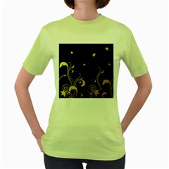 Golden Flowers And Leaves On A Black Background Women s Green T-Shirt