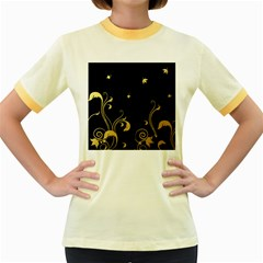 Golden Flowers And Leaves On A Black Background Women s Fitted Ringer T-Shirts