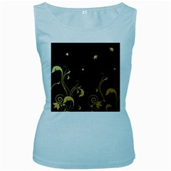 Golden Flowers And Leaves On A Black Background Women s Baby Blue Tank Top