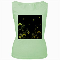 Golden Flowers And Leaves On A Black Background Women s Green Tank Top