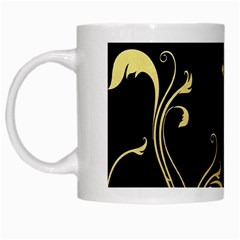 Golden Flowers And Leaves On A Black Background White Mugs