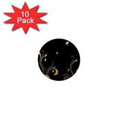 Golden Flowers And Leaves On A Black Background 1  Mini Magnet (10 Pack)