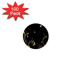 Golden Flowers And Leaves On A Black Background 1  Mini Magnets (100 pack)