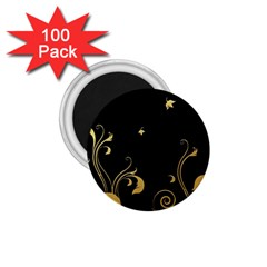 Golden Flowers And Leaves On A Black Background 1 75  Magnets (100 Pack)