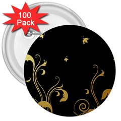 Golden Flowers And Leaves On A Black Background 3  Buttons (100 pack)