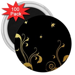 Golden Flowers And Leaves On A Black Background 3  Magnets (100 pack)
