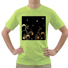Golden Flowers And Leaves On A Black Background Green T-Shirt