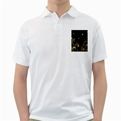 Golden Flowers And Leaves On A Black Background Golf Shirts