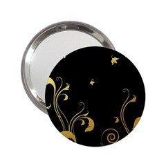 Golden Flowers And Leaves On A Black Background 2 25  Handbag Mirrors