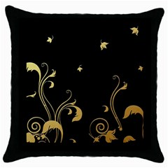Golden Flowers And Leaves On A Black Background Throw Pillow Case (black)