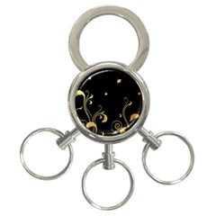 Golden Flowers And Leaves On A Black Background 3-Ring Key Chains
