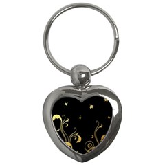 Golden Flowers And Leaves On A Black Background Key Chains (Heart)