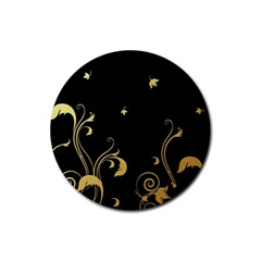 Golden Flowers And Leaves On A Black Background Rubber Round Coaster (4 pack)