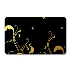 Golden Flowers And Leaves On A Black Background Magnet (rectangular)