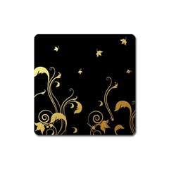 Golden Flowers And Leaves On A Black Background Square Magnet