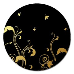 Golden Flowers And Leaves On A Black Background Magnet 5  (Round)