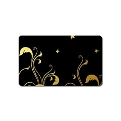 Golden Flowers And Leaves On A Black Background Magnet (name Card)
