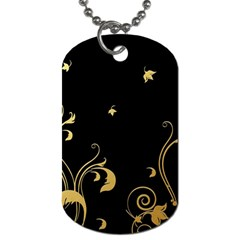 Golden Flowers And Leaves On A Black Background Dog Tag (one Side)