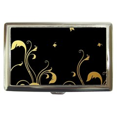 Golden Flowers And Leaves On A Black Background Cigarette Money Cases