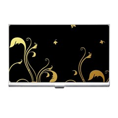 Golden Flowers And Leaves On A Black Background Business Card Holders
