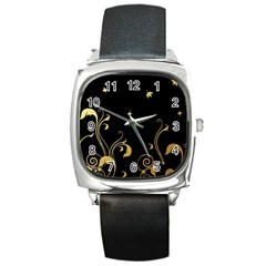 Golden Flowers And Leaves On A Black Background Square Metal Watch