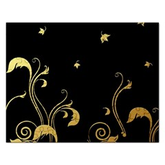 Golden Flowers And Leaves On A Black Background Rectangular Jigsaw Puzzl
