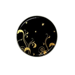 Golden Flowers And Leaves On A Black Background Hat Clip Ball Marker